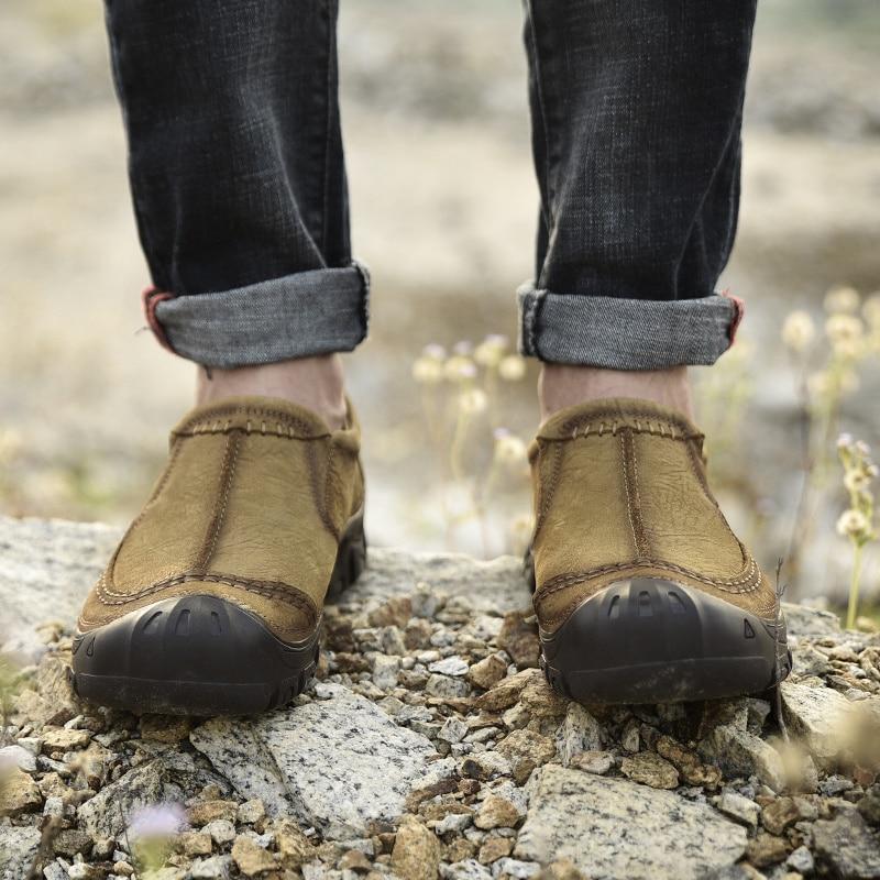 Sapata De Couro Preto 2019 Grande khaki Para Homens Vaca Casuais Mocassins Sapatos Tamanho Moda Homem Black Primavera Na Dos Bons Genuíno Deslizamento Cáqui nxUfxaw