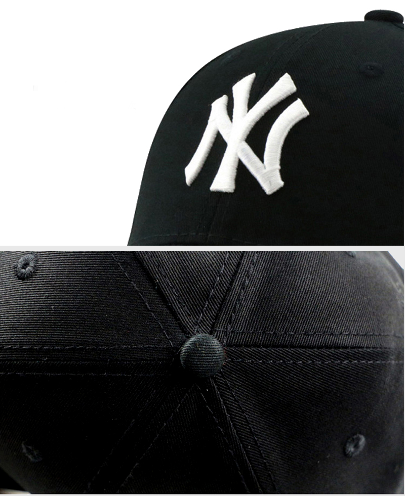 Fashion Adult Unisex Casual Gorras Hat Embroidery NY Letter Sport Baseball Cap Snapback Cap Black (6)