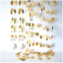 Модные настенные бумажные гирлянды в виде звезд длиной 2 м, цепочка на день рождения, баннер для свадебной вечеринки, ручной работы, декор для детской комнаты, домашний декор