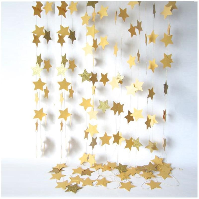 Fashion Wall Hanging Paper Star Garlands 2m Long Birthday String Chain Wedding Party Banner Handmade Children Room Home Decor
