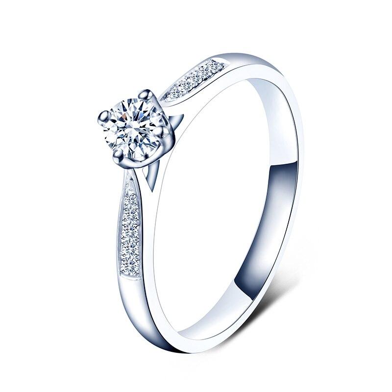 ZHJIASHUN luxe 14 k 585 or blanc bijoux de mariage 0.5ct taille ronde Moissanite diamant Halo bague de fiançailles pour les femmes cadeaux