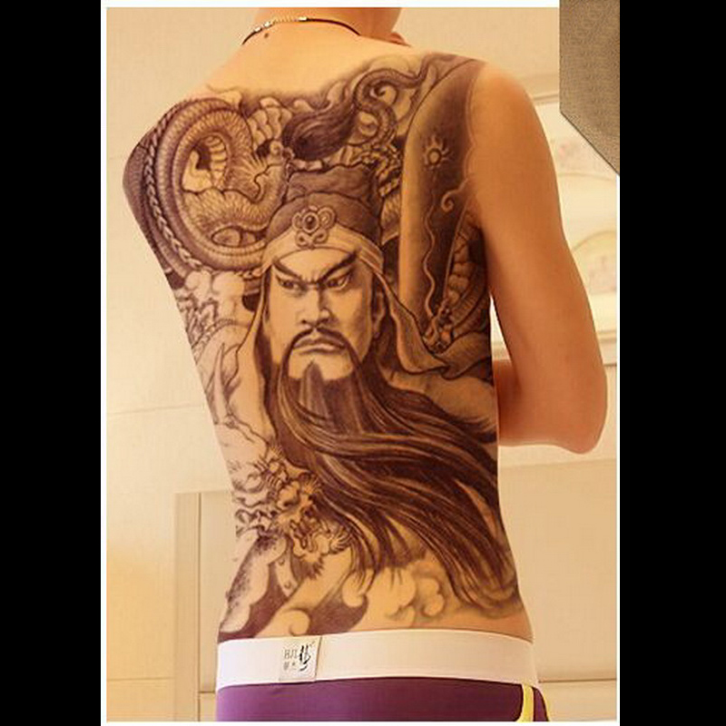 34x48cm Super Large Black Guan Yu Tattoos Men And Women Waterproof Big Temporary Tattoo Stickers Full Back Fake Tattoo Designs