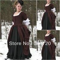 Custom made1860s коричневый хлопок Гражданская война Southern Belle вечернее платье/викторианской Лолита Платья готический платье US6 26 V 255