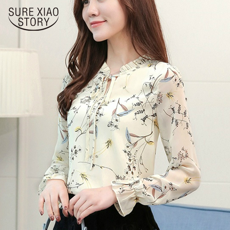 2018 Women Tops Chiffon   Blouses     Shirts   Ladies Floral Print Feminine   Blouse   Long Sleeve Blusas Femme Plus Size Tops Female 900 30