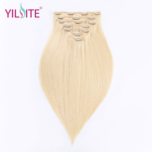 YILITE Full Head Clip In 110g Set 14inch Double Drawn Remy Hair Straight Russian