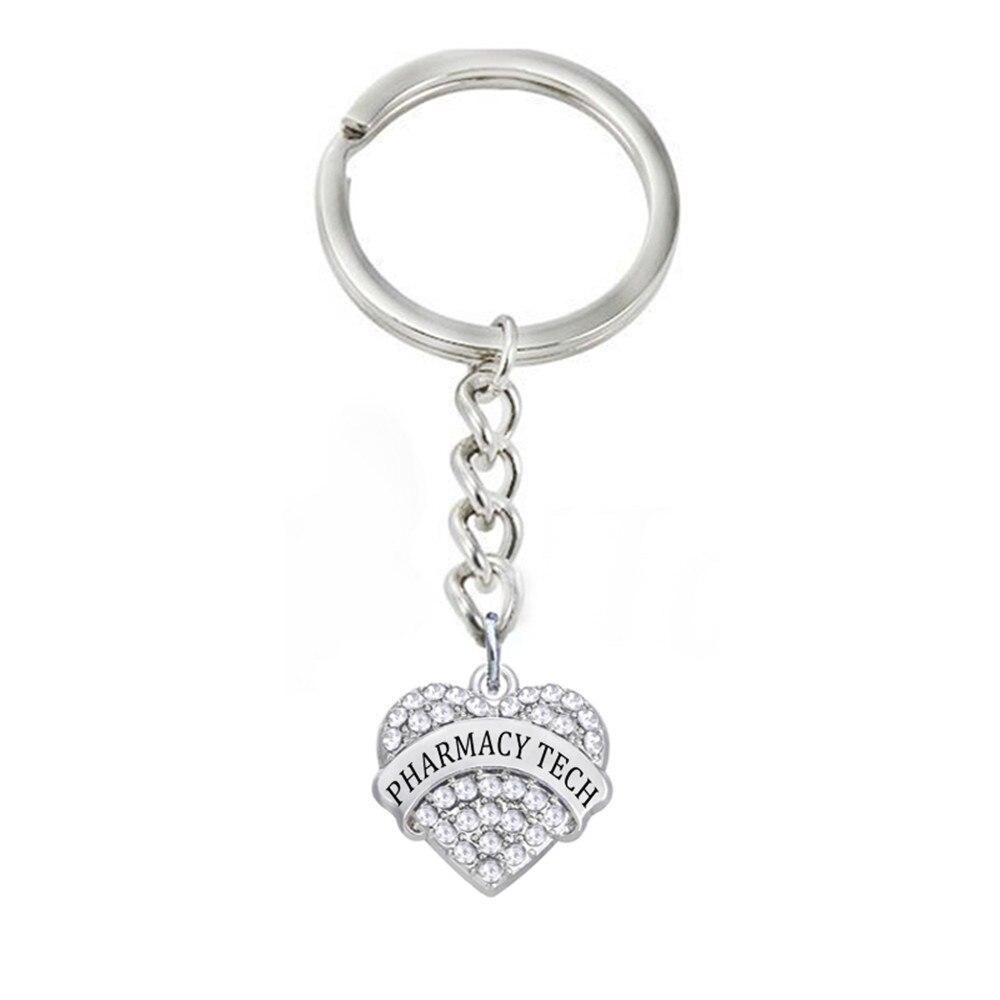 DOUBLE NOSE Fashion Medical Jewelry Shape Hearts Crystal Pharmacy Tech Charm Key Chains