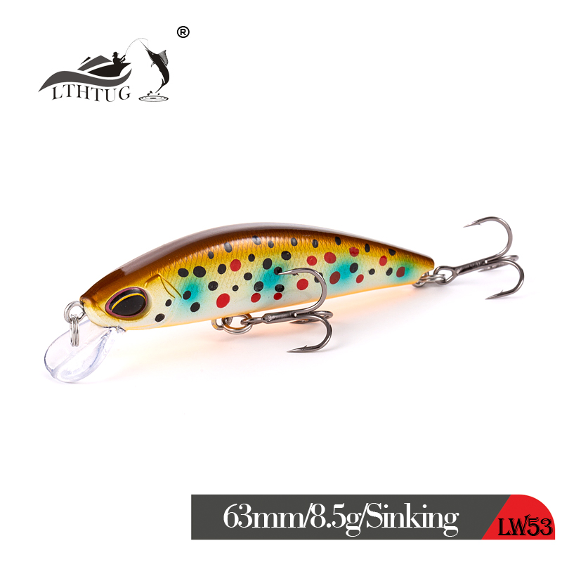NEW LTHTUG Japanese Design Pesca Wobbling Fishing Lure 63mm 8.5g Sinking Minnow Isca Artificial Baits For Bass Perch Pike Trout