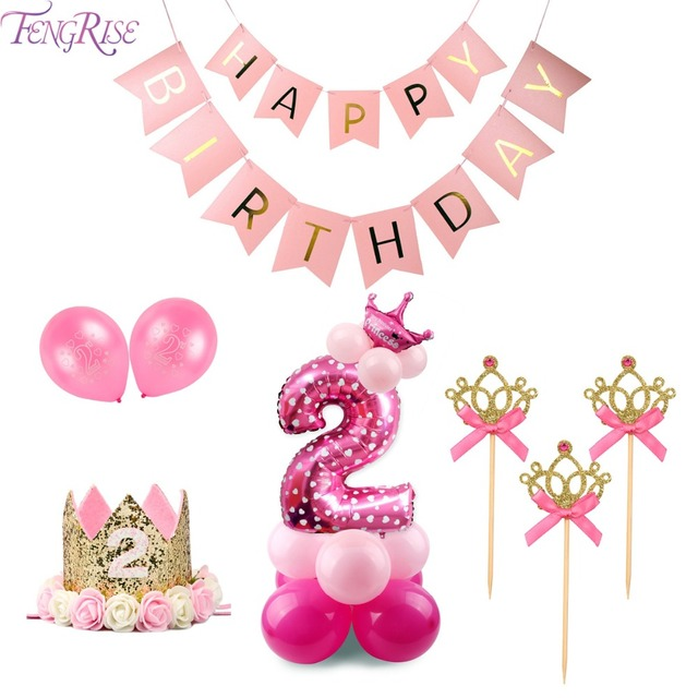 FENGRISE 2nd Birthday Party Decoration Pink Girl 2 Balloons Number Balloon Year Old Kids Two Supplies