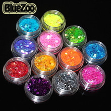 BlueZoo 12 Pots/pack Nail Glitter Rhinestone Different Colors Big Hexagon Paillette Nail Art Decoration With Box