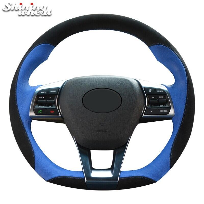 Shining Wheat Black Suede Blue Leather Car Steering Wheel