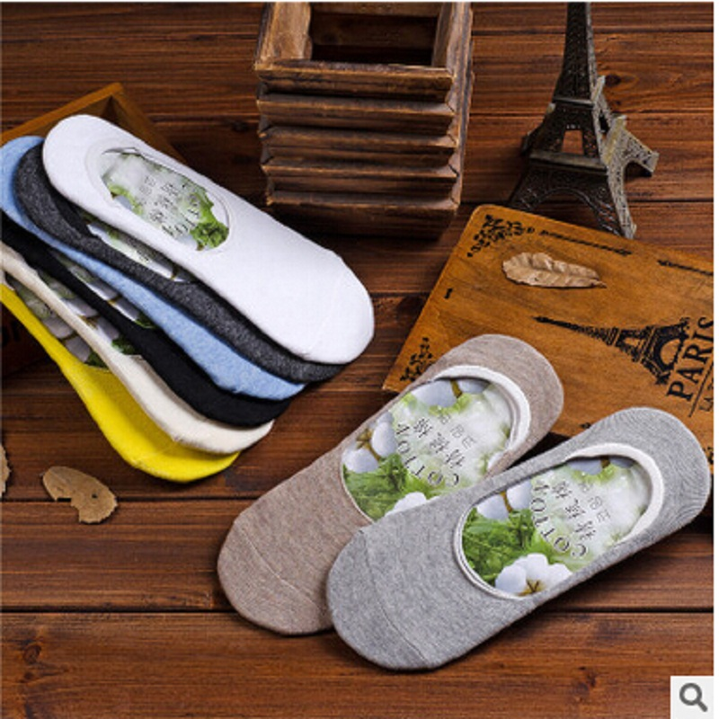 2018 Limited New Casual Cotton Standard Mens Socks Spring And Summer High-quality Candy Color Invisible Socks Men