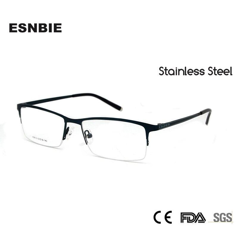 ESNBIE brillenfassung Männer Brillenfassungen Edelstahl Halbrahmen ...