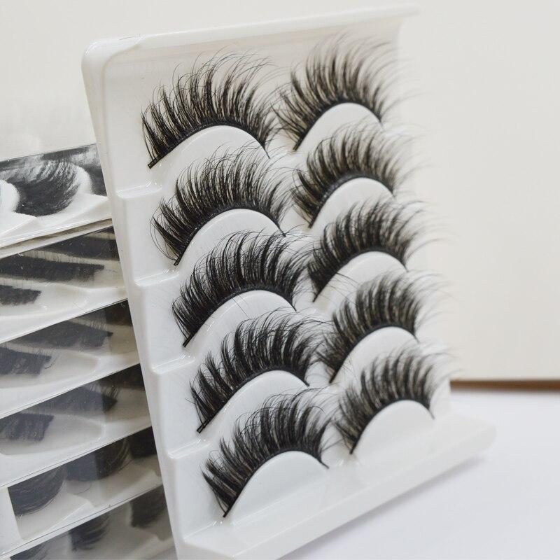 QSTY 5 Pairs Natural False Eyelashes Fake Lashes Long Makeup 3d Mink Lashes Eyelash Extension Mink Eyelashes For Beauty