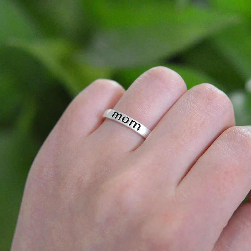 الكلاسيكية خاتم فضي اللون رسالة طباعة أمي خاتم للنساء واضح مجوهرات الأزياء خاتم هدية