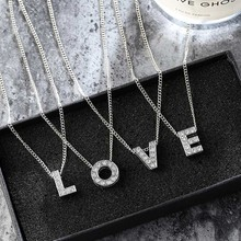 Itenice 2018 Fashion Tiny Sliver Name Short Necklace Rhinestone Name Letter Necklace & Pendant For Women Girl Best Birthday Gift