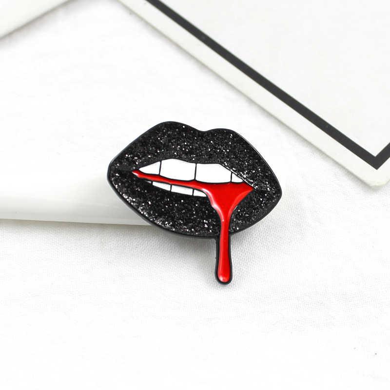 Shiny black lippen fließt der roten blut brosche Persönlichkeit kreative abzeichen Hemd denim leder mode zubehör