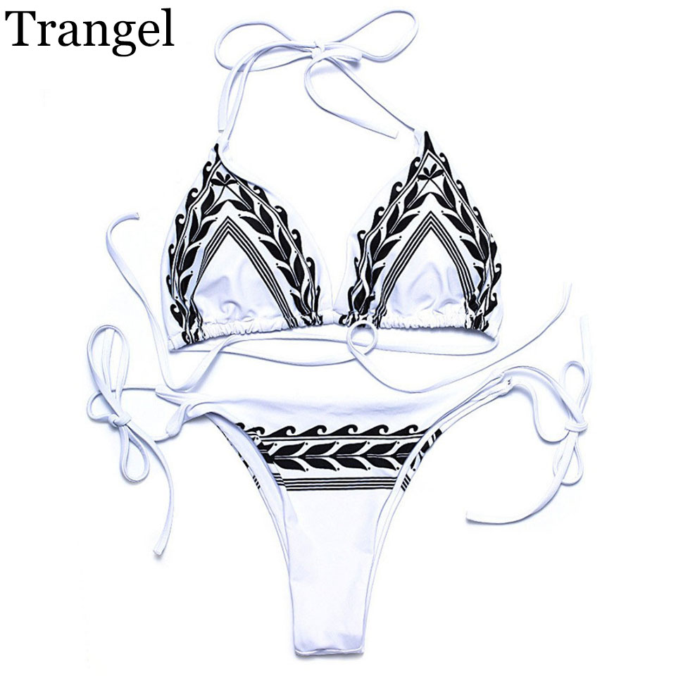 Trangel 2017 bikinis Sexy women bikini swimwear white swimsuit halter swimwear low waist bikini bikini set bathing suit EG502 sexy black halter low waist wrap bikini for women
