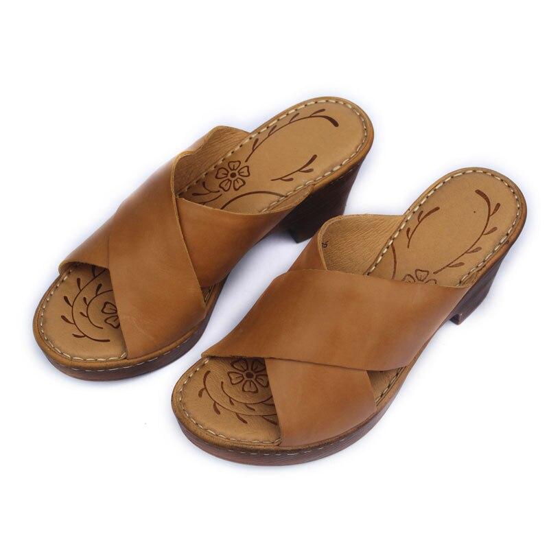Women s Sandals Genuine Leather Wedge Platform Ladies Sandals Slip on Summer Shoes 7cm Height Open
