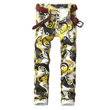 2016 Mens Golden Flower Printing Jeans Fashion Nightclub Slim fit Pencil Denim Jeans P5063