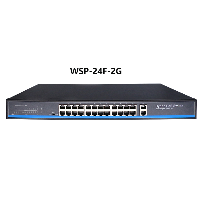 24 port 10/100Mbps PoE Ethernet Switch support IEEE802.3af/at with 2 Port 1000M SFP COMBO poe switch PoE 48V RJ45