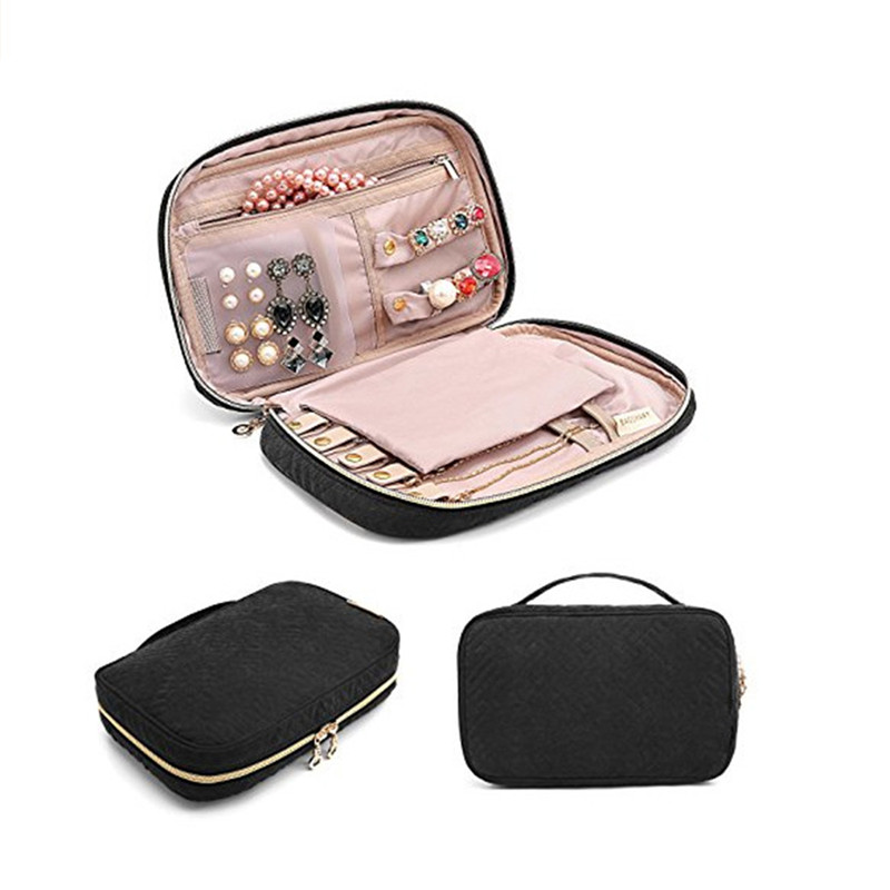 Multifunction Jewelry Storage Box Organizer Zipper Display Travel Case Necklace Bracelet Earring Ring Portable Pouch Bag C35