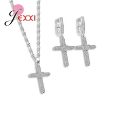 JEXXI New Design Jewelry Set For Elegant Lady 925 Sterling Silver Jewelry Set Necklace/Earrings For Women In Wedding.