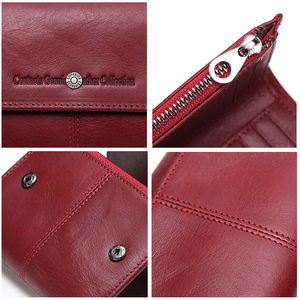 Image 5 - Contacts Fashion Coin Purse Zipper Wallet Genuine Leather Women Wallets Small Money Bag for Ladies Short Billfold Card Holder