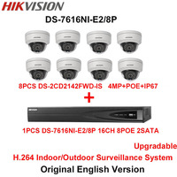 Hikvision Original English H 264 Surveillance System 8pcs DS 2CD2142FWD IS 4MP IP Camera POE 6MP