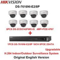 Hikvision Original English H 264 Surveillance System 8pcs DS 2CD2142FWD IS 4MP IP Camera POE 6MP