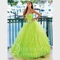 Brilhante piso Quinceanera Dresses Lime verde vestidos de baile de tule lantejoula Ruffles doce 16 Vestido de Debutante Vestido 15 anos longo