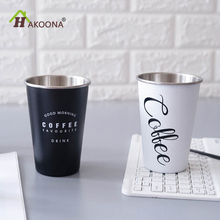 HAKOONA Black White Chic Portable Lid Cup Image Coffee Tea Cups Stainless Steel Juice Cup Travel Thermo