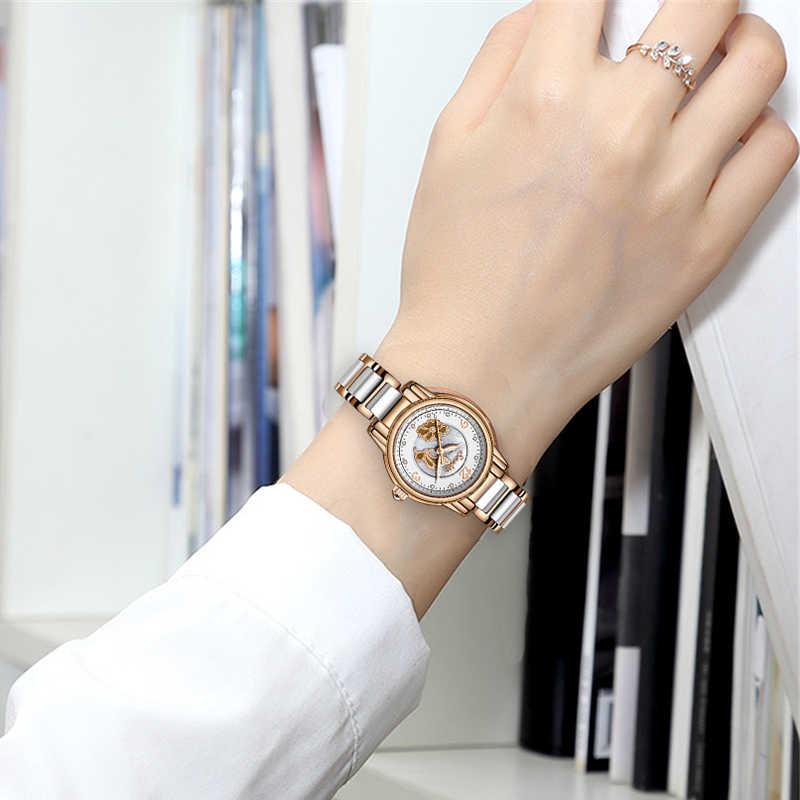 SUNKTA стразы, розовое золото, Топ бренд, роскошные часы, женские спортивные водонепроницаемые часы, модные повседневные часы, женские часы Zegarek Damsk