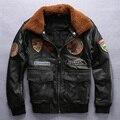 Cuello de lana de chaqueta de cuero de piloto de vuelo de la fuerza aérea de los hombres chaqueta gruesa piel de vaca de invierno de cuero hombres de la chaqueta de forro de algodón de cuero escudo
