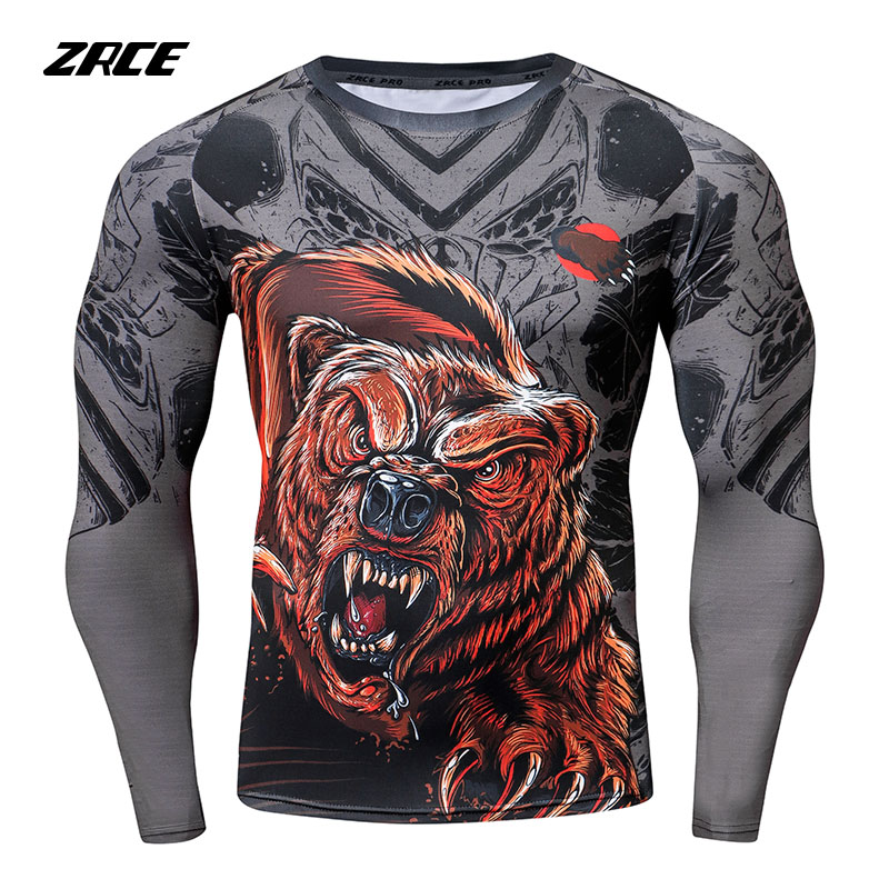 ZRCE Men Compression Shirts Russia Bear T-shirt 3d Anime Printed Rashguard Sleeves Fitness Long Sleeves Tight Homme Tops