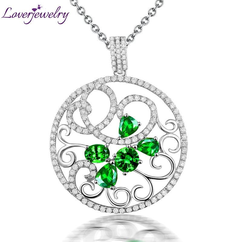 66bc15bd896a Romántico nuevo vintage sólido 18Kt  AU750 oro blanco diamante tsavorita  Gemstone COLLAR COLGANTE para las mujeres joyería regalo WP056