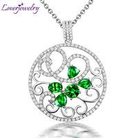 Romantic New Vintage Solid 18Kt?AU750 White Gold Diamond Tsavorite Gemstone Necklace Pendant for Women Jewelry Gift WP056
