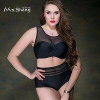 MS SHANG High Waist Plus Size Swimwear Women Two Piece Swimsuit Female Large Size Bathing Suits