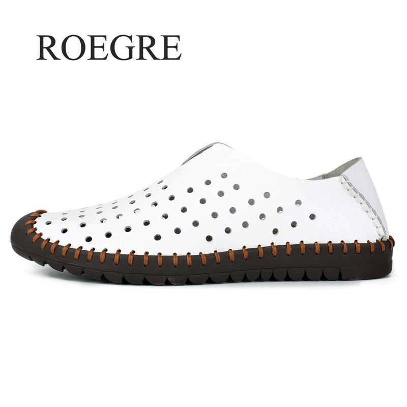 2018 Fond Mocassins Appartements blanc Roegre De En Cuir brown Marque Mou Chaussures Confort Nouvelle Casual New Hommes Bleu D'été qwPOwZt
