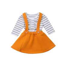 Little Girls Stripes T-shirt Bib Skirt Clothes Set Newborn Baby Girls Ruffle Shirt Top Solid Belt Skirts Outfit Clothing  2019 цена