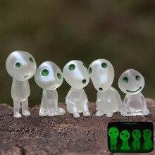 1PCS New Luminous Tree Elves Toy Miyazaki Cartoon Princess Mononoke Decor Doll Ornament Micro Landscape Bonsai Miniature