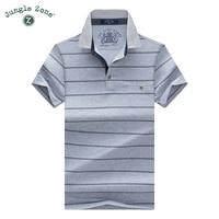JUNGLE ZOE Brand Men S T Shirt Men S Short Sleeved Lapel T Shirt Striped Tshirts