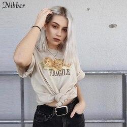 Nibber popular cartoon angel printing Cotton women's T-shirt spring summer fashion basic tops ladies loose slim soft casual tees