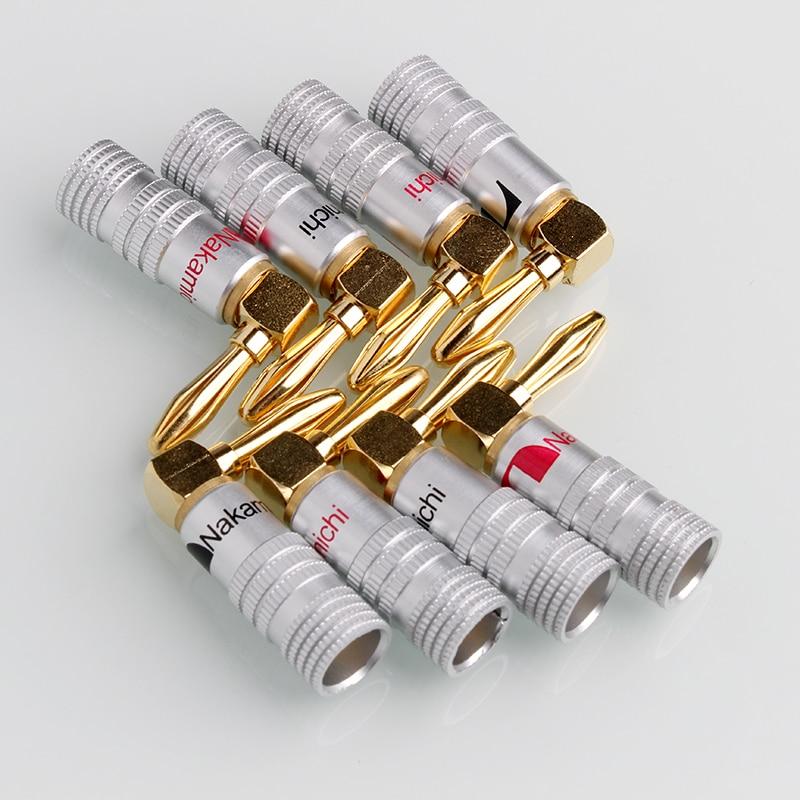 8 piezas naunids kamichi ángulo recto altavoz Banana enchufe adaptador cable conector 24 K chapado en oro para HiFi