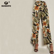 ROHOPO Floral Printed Women Pant Full Length Lily Vintage Ladies Woman Straight Trousers #YY0332F