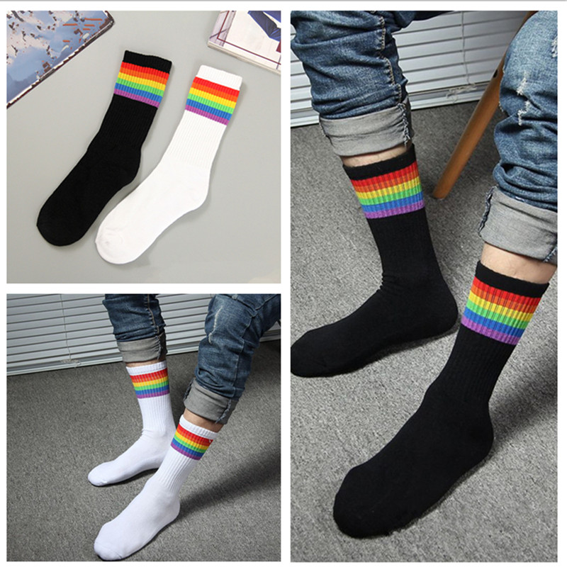 1 Pair Rainbow Cotton Socks LGBT Gay Les Proud Socks Novelty Happy Socks Gifts YLM9918