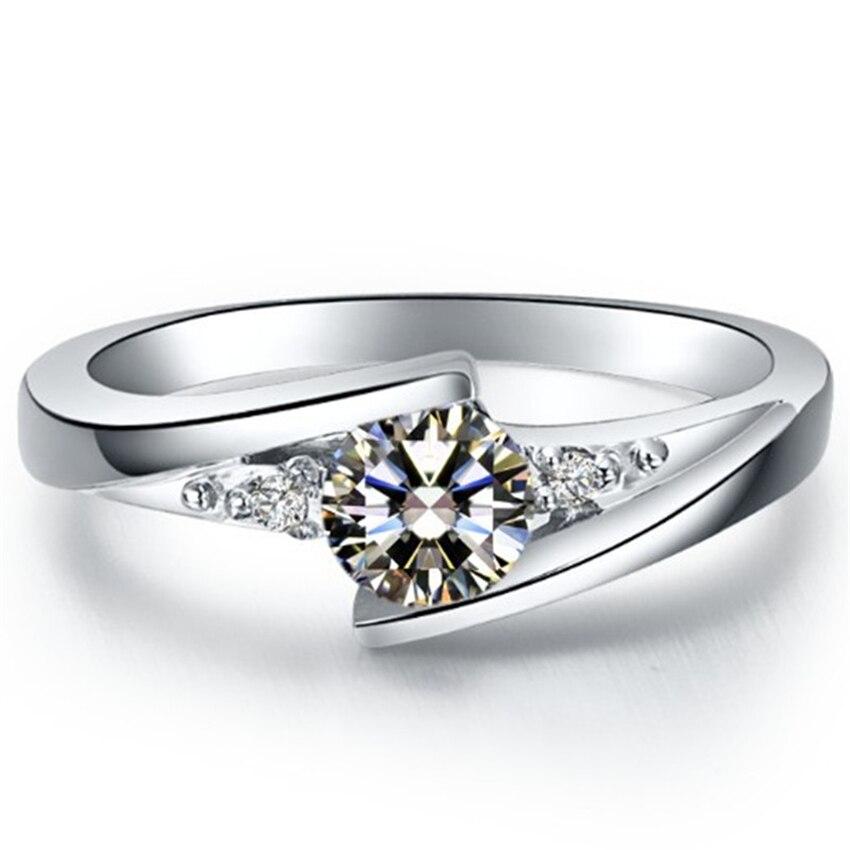 1 ct sona 시뮬레이션 다이아몬드 약혼 반지 여성 결혼 기념일 날 최고의 보석 선물 정품 스털링 실버 절대 페이드-에서반지부터 쥬얼리 및 액세서리 의  그룹 1