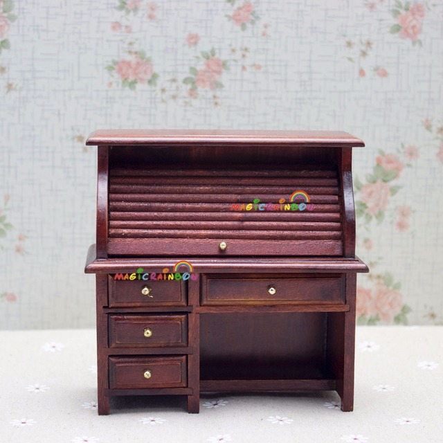 Dollhouse Miniatures 1:12 Scale Room Furniture Accessories  Wood Study Table Writing Desk with Drawers