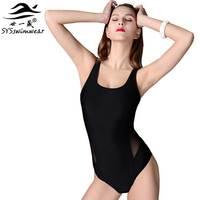 Yüksek kalite Seksi Muhtasar Tasarım Siyah Backless Bir Adet Kadın Mayo Katı Spor Kız Mayo Siyah iplik mayo