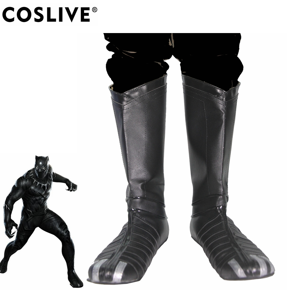 Coslive Captain America: Civil War Black Panther Boots Black Deluxe PU Shoes Cool Boots Cosplay Costume Prop For Adult Men