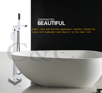 Bathroom Waterfall Bathtub Floor Stand Faucet Tap Set & Hand Held Shower Chrome Solid Brass Wholesale 3 Sets Per Carton 6201